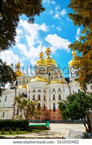 Kiev Pechersk Lavra monastery in Kiev, Ukraine in the morning - stock photo