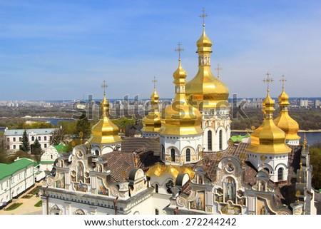 Kiev-Pechersk Lavra Uspensky Cathedral, in Kiev, Ukraine - stock photo