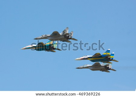 Kiev Region, Ukraine - August 3, 2012: A group of Ukraine Air Force MiG-29's is performing a training flight