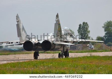 Kiev Region, Ukraine - August 3, 2012: Ukraine Air Force MiG-29 is taxiing to the runway for a training flight