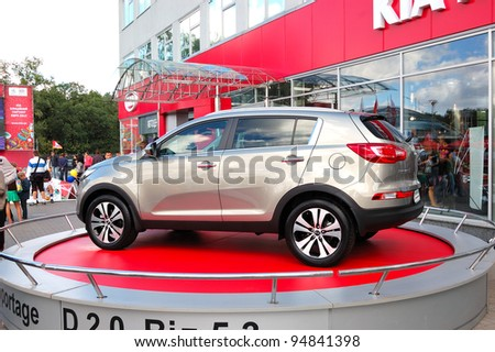 "KIEV - SEPTEMBER 11: New generation of Kia Sportage at the yearly automotive-show ""Capital auto show 2011"". September 11, 2011 in Kiev, Ukraine."