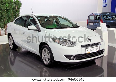 "KIEV - SEPTEMBER 10: Renault Fluence at yearly automotive-show ""Capital auto show 2011"". September 10, 2011 in Kiev, Ukraine. - stock photo"