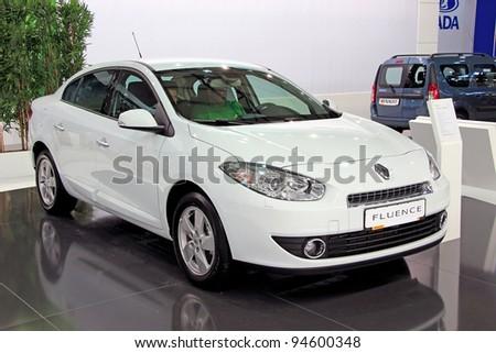 "KIEV - SEPTEMBER 10: Renault Fluence at yearly automotive-show ""Capital auto show 2011"". September 10, 2011 in Kiev, Ukraine. - stock photo"