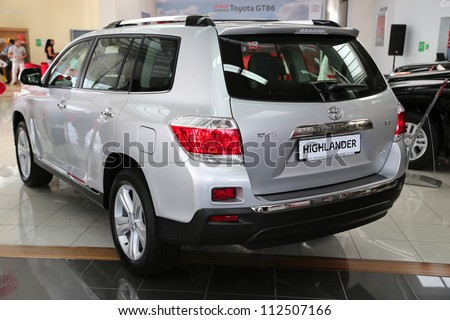 "KIEV - SEPTEMBER 7: Toyota Highlander at yearly automotive-show ""Capital auto show 2012"". September 7, 2012 in Kiev, Ukraine"