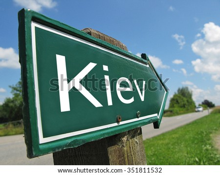 Kiev signpost along a rural road