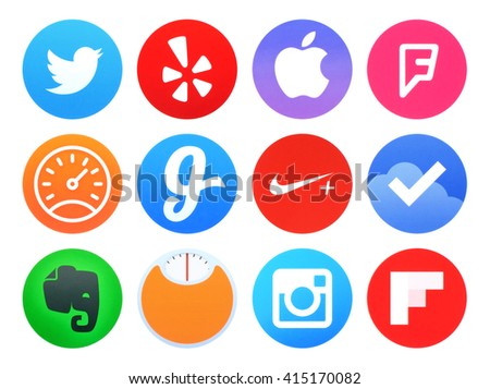 Kiev, Ukraine - April 28, 2016: Collection of popular Apple watch application icons printed on paper: Twitter, Evernote, Foursquare, Glide, Instagram, Nike running and other - stock photo