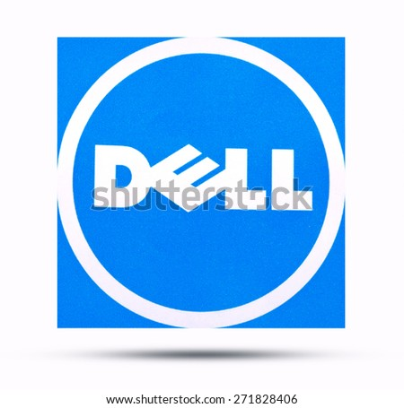 KIEV, UKRAINE - APRIL 08, 2015: Dell logotype printed on paper. Dell - American corporation, one of the largest companies in the field of computers.