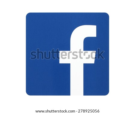 KIEV, UKRAINE - APRIL 27, 2015: Facebook logo sign printed on paper and placed on white background. Facebook is a well-known social networking service. - stock photo