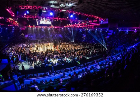 KIEV, UKRAINE - April 18, 2015: Fight between Ukrainian boxer Alexander Usyk from Klichko brothers company K2 technical knockout in the eighth round of the Russian boxer defeated Andrei Knyazev - stock photo