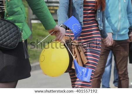 "KIEV, UKRAINE - April 5, 2016: Flashmob ""Chain of unity ""Ukraine and Europe - stronger together"" in Kiev  - stock photo"