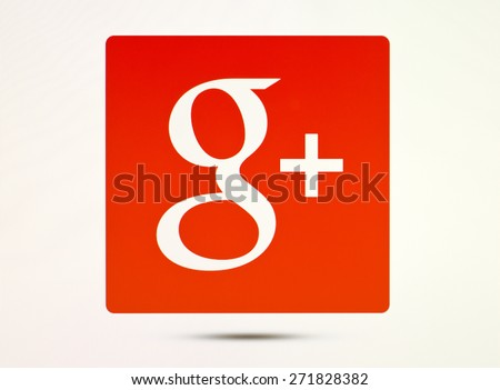 KIEV, UKRAINE - APRIL 20, 2015:Google plus logotype  sign on pc sign. Google plus - social network from Google, which provides the ability to communicate via the Internet. - stock photo