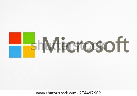 KIEV, UKRAINE - APRIL 30, 2015:  Microsoft logo  on pc screen.  Microsoft - one of the largest multinational companies in the production of proprietary software. - stock photo