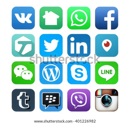 Kiev, Ukraine - APRIL 04, 2016: Popular social media icons such as: Facebook, Twitter, Linkedin, Periscope, Tumblr, Viber, Skype, Instagram, LINE, WeChat, WhatApp and others, printed on white paper. - stock photo