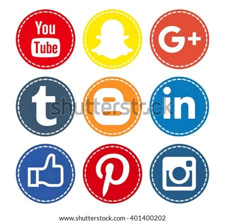 Kiev, Ukraine - April 04, 2016: Set of most popular social media icons: Facebook, Youtube, Pinterest, Instagram, Google Plus, Linkedin, Snapchat, Blogger printed on paper. - stock photo