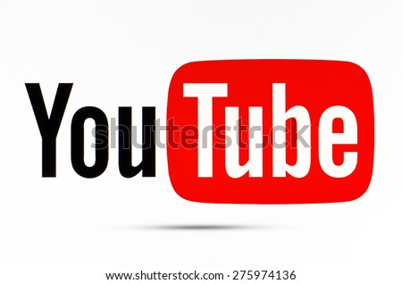 KIEV, UKRAINE - APRILE 23, 2015: YouTube logotype  sign on pc sign.  YouTube is the popular online video-sharing website. Users can add, view, comment and share with your friends by various videos. - stock photo
