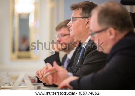 KIEV, UKRAINE - Aug 13, 2015: Minister of Foreign Affairs of the Republic of Lithuania Linas Linkevicius during an official meeting with the President of Ukraine Petro Poroshenko