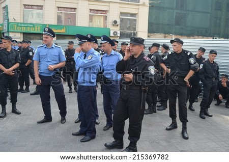 KIEV, UKRAINE - AUG 24, 2014.Ukrainian police during President Poroshenko Victory parade in downtown. August 24, 2014 Kiev, Ukraine