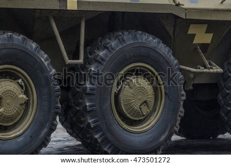 KIEV, UKRAINE - Aug 24, 2015:Ukrainian soldiers on the march of Independence on the occasion of 25th anniversary of Independence of Ukraine. Military equipment is moved around the city.