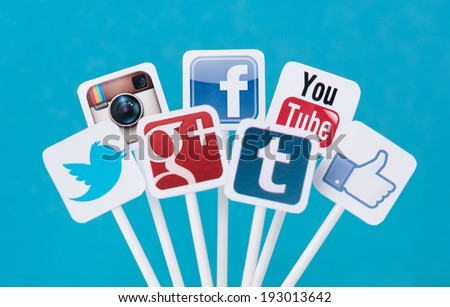 KIEV, UKRAINE - AUGUST 26, 2013: Collection of well-known social media brands printed on paper and placed on plastic signs. Include Facebook, YouTube, Twitter, Google Plus, Instagram and Tumblr logo. - stock photo