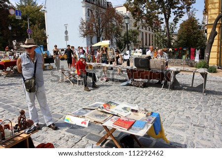 KIEV, UKRAINE - AUGUST 24: Elderly men on the Holiday Fair at the time of the Independence Day of the country Ukraine on August 24, 2012 in the old Eastern European city Kiev, Ukraine.