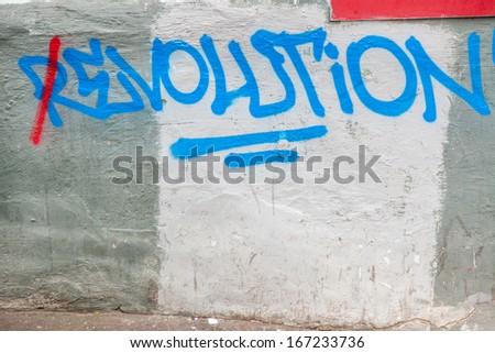 KIEV, UKRAINE, DEC 11, 2013: graffiti in the center of Kiev, on Maydan Nezalejnosti - stock photo