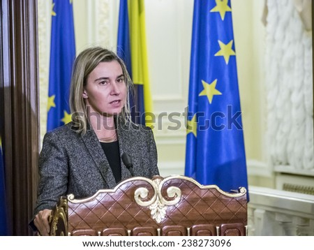 KIEV, UKRAINE - December 17, 2014: EU High Representative for Foreign Affairs Federica Mogherini in Kiev - stock photo