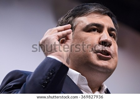 Kiev, Ukraine - DECEMBER 23, 2015: Former Georgian President, now governor of Odessa region in Ukraine, Mikhail Saakashvili speaks during the anti-corruption forum in Kiev. - stock photo