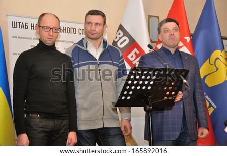 KIEV, UKRAINE � 2 DECEMBER 2013: The leaders of Ukrainian opposition A.Yatsenyuk, V.Klitschko, O.Tyahnybok organize a briefing devoted to revolution on December 2, 2013 in Kiev, Ukraine - stock photo
