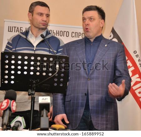 KIEV, UKRAINE � 2 DECEMBER 2013: The leaders of Ukrainian opposition V.Klitschko, O.Tyahnybok organize a briefing devoted to revolution on December 2, 2013 in Kiev, Ukraine - stock photo