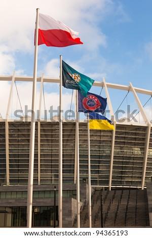 KIEV, UKRAINE - DECEMBER 11: The Olympic Stadium Under Construction For The UEFA EURO 2012 on December 11, 2011 in Kiev, Ukraine - stock photo