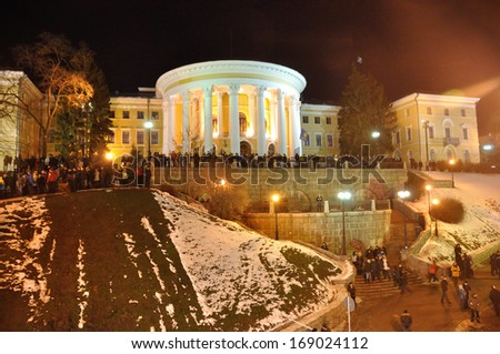KIEV, UKRAINE - 14 DECEMBER 2013: Unknown demonstrators blockade the Independence square during Ukrainian revolution on December 14, 2013 in Kiev, Ukraine.
