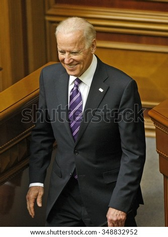 KIEV, UKRAINE - December 08, 2015: US Vice President Joe Biden (L) after delivering his speech at the Ukrainian Parliament.
