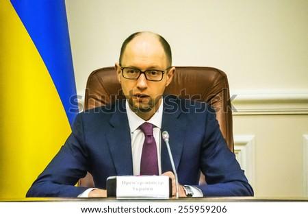 KIEV, UKRAINE - Feb 25, 2015: Prime Arseniy Yatsenyuk  - stock photo