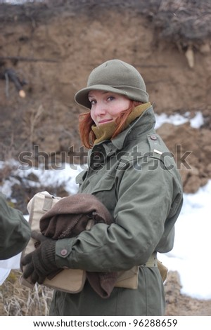 KIEV, UKRAINE -FEB 25:Unidentified members of Red Star history club wear historical American uniforms during historical reenactment of WWII, on February 25, 2012 in Kiev, Ukraine
