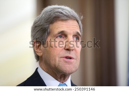 KIEV, UKRAINE - Feb 5, 2015: US Secretary of State John Kerry during a joint press conference with President of Ukraine Petro Poroshenko in Kiev - stock photo