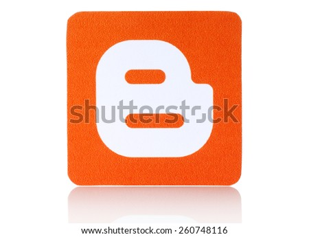 KIEV, UKRAINE - FEBRUARY 19, 2015: Blogger logotype printed on paper and placed on white background. Blogger is a blog-publishing service. - stock photo