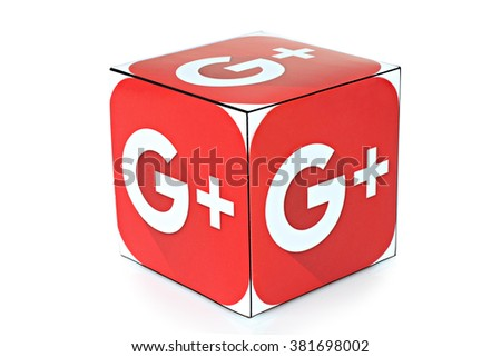 KIEV, UKRAINE - FEBRUARY 04, 2016: Cube with logotype of social mediaGoogle Plus on a white background. - stock photo
