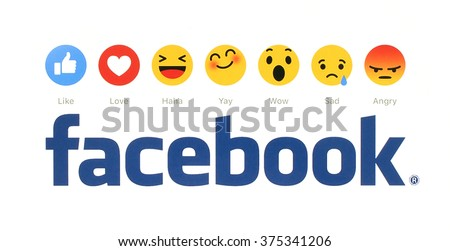 Kiev, Ukraine - February 9, 2016: New Facebook like button 6 Empathetic Emoji Reactions printed on white paper. Facebook is a well-known social networking service. - stock photo
