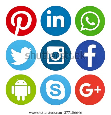Kiev, Ukraine - February 15, 2016: Set of most popular social media icons: Facebook, Twitter,Youtube, Pinterest, Instagram,  Google Plus, Linkedin, WhatsApp, Android  printed on paper.