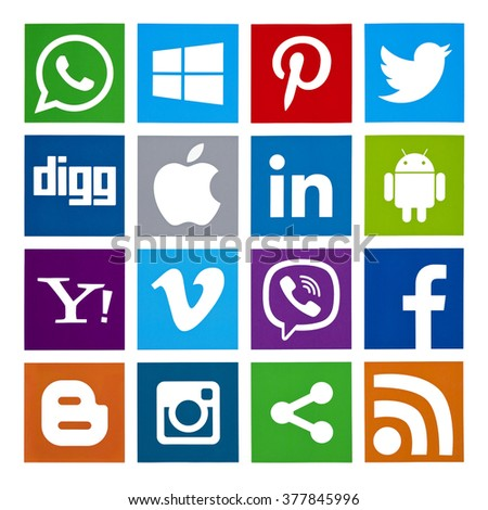 Kiev, Ukraine - February 16, 2016: Set of most popular social media icons: Twitter, Pinterest, Instagram, Facebook, Blogger, WhatsApp,Viber, Vimeo, Linkedin and others printed on paper. - stock photo