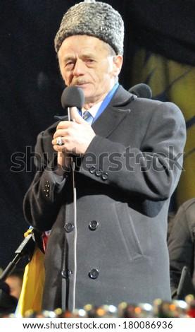 KIEV, UKRAINE -Â?Â? 26 FEBRUARY 2013: The head of Crimea Tatars Majlis and Ukrainian politic Mustapha Djemiliov speaks on the meeting on February 26, 2013 in Kiev, Ukraine. - stock photo