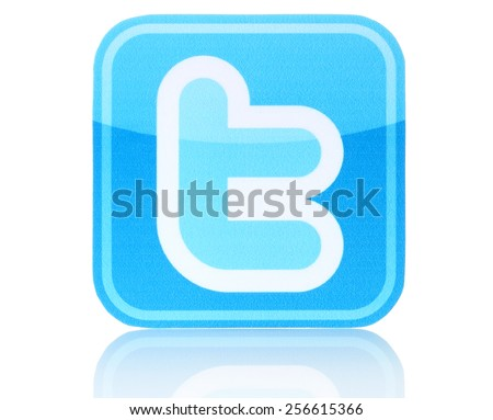 KIEV, UKRAINE - FEBRUARY 19, 2015:Twitter logotype printed on paper. Twitter is an online social networking service that enables users to send and read short messages. - stock photo