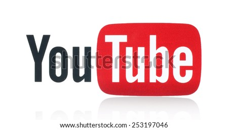 KIEV, UKRAINE - FEBRUARY 05, 2015: YouTube logotype printed on paper. YouTube is a video-sharing website. The service was created by three former PayPal employees in February 2005. - stock photo