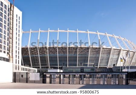 KIEV, UKRAINE - JAN 11: Exterior view of Olympisky Stadium in Kiev on Jan 11, 2012. This stadium will host the final match of the football european UEFA championship Euro 2012. - stock photo