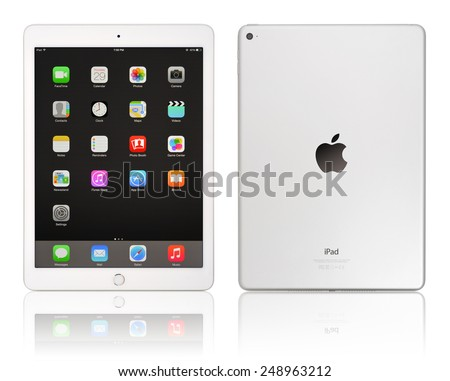 KIEV, UKRAINE - JANUARY 29, 2015: Brand new white Apple iPad Air 2, 6th generation of the iPad, developed by Apple inc. and was released on October 16, 2014 - stock photo