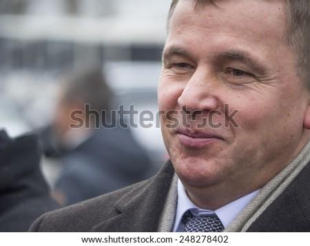 KIEV, UKRAINE - January 29, 2015: Ex-Minister of Defence of Ukraine Valeiy Heletey. Ukrainian politicinas attended the ceremony Kruty Heroesentered into an battle with Bolsheviks - stock photo