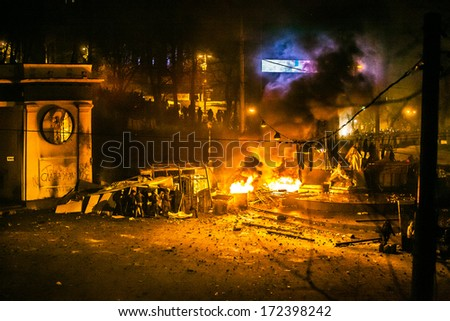 "KIEV, UKRAINE  20 JANUARY: Protest against ""Dictatorship"" in Ukraine turns violent on Euromaydan in Kiev. Against the president Yanukovych on 20 January, 2014 in Kiev, Maidan, Ukraine."