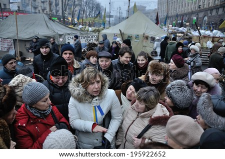 KIEV, UKRAINE - 24 JANUARY 2014: The deputy of Ukraine Ksenia Liapina meets with people during revolution on January 24, 2014 in Kiev, Ukraine