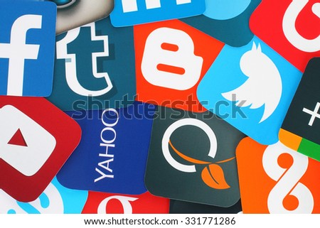 Kiev, Ukraine - July 01, 2015: Background of famous social media icons such as: Facebook, Twitter, Blogger, Linkedin, Tumblr, Myspace and others, printed on paper. - stock photo