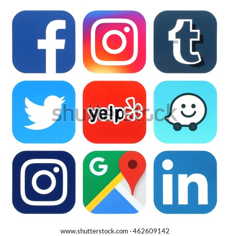 Kiev, Ukraine - July 25, 2016: Collection of popular social media, travel and navigation logos printed on paper:Facebook, Twitter, Instagram, Yelp, Google Maps, Waze, Tumblr and Linkedin